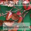 Copper Wall Mounted or Wall Hanging sculpture by sculptor Lynn Mahoney titled: 'Vines (Circular Foliage Floral Wreath Cartouch statue)' - Artwork View 3