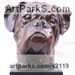 Bronze Dogs sculpture by sculptor Marie Ackers titled: 'Boxer Dog Head study II (Portrait Pet Bust Portrait Commission sculpture)' - Artwork View 2