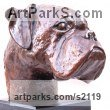 Bronze Dogs sculpture by sculptor Marie Ackers titled: 'Boxer Dog Head study II (Portrait Pet Bust Portrait Commission sculpture)' - Artwork View 3