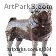 "bronze or resin Domestic Animal Sculpture by Marie Ackers titled: ""Pug study I (bronze resin Standing Pug Dog statue/sculptures)"""