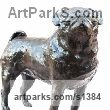 Bronze or resin Dogs sculpture by sculptor Marie Ackers titled: 'Pug study I (Bronze resin Standing Pug Dog statue/sculptures)' - Artwork View 3