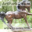 "bronze Animal Kingdom sculpture by Marie Ackers titled: ""Storm (Stallion sculpture/statuettes/figurines/statue Small bronze)"""
