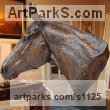 "bronze Horse Head or Bust or Mask or Portrait sculpture statuette statue figurine by Marie Ackers titled: ""Thoroughbred Head Study (Horse Head Bust sculpture statue statuette)"""