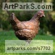 Bronze resin with bronze legs and feet Garden Or Yard / Outside and Outdoor sculpture by Marie Shepherd titled: 'Chicken (Liife size Hen Outdoor sculpture statues)'
