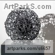Welded Steel, Spherical Globe like Ball shaped Round Abstract Contemporary sculpture statue statuette sculpture by Martha Walker titled: 'Heart of The Matter (Steel Wire Round Circular Small Indoor/Inside Art)'