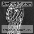 Stainless steel Abstract Contemporary or Modern Outdoor Outside Exterior Garden / Yard sculpture statuary sculpture by sculptor Martin Debenham titled: 'Mermaid 2 (stainless Steel nude Girl Wire Indoor statue)' - Artwork View 4