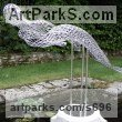 Stainless steel Abstract Contemporary or Modern Outdoor Outside Exterior Garden / Yard sculpture statuary sculpture by sculptor Martin Debenham titled: 'Mermaid 2 (stainless Steel nude Girl Wire Indoor statue)' - Artwork View 1