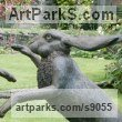 Bronze Hares and Rabbits sculpture by Martin Duffy titled: 'Large Boxing Hares'