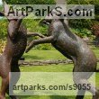 Bronze Garden Or Yard / Outside and Outdoor sculpture by sculptor Martin Duffy titled: 'Large Boxing Hares' - Artwork View 3
