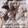 Walnut Carved Wood sculpture by Martina Net�kov� titled: 'King of Kings (Wood Holy Family Wall statues/carving)'