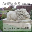Sand Stone African Animal and Wildlife sculpture by sculptor Martyn Bednarczuk titled: 'Lion (Carved Classical stone After Cannova garden/Yard statue carving)'