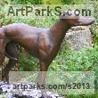 Resin Bronze and available in Foundry Bronze Dogs sculpture by sculptor Mary Quinn titled: 'Whippet (Bronze Standing Dog or Hound life size statue)' - Artwork View 2