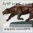 Bronze African Animal and Wildlife sculpture by sculptor Mary Staffiere titled: 'Intent (Little Prowling Hunting Lioness sculptures)'
