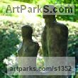 Bronze Abstract Modern Contemporary Avant Garde Sculptures Statues statuettes figurines statuary both Indoor Or outside sculpture by Marzia Colonna titled: 'Earth and Sea (Contemporary Modern abstract Man and Woman garden sculpture)'