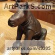 Bronze African Animal and Wildlife sculpture by Michael J Mawdsley titled: 'Baby Rhino (bronze small sculpture figurine)'