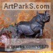 Bronze African Animal and Wildlife sculpture by sculptor Michael J Mawdsley titled: 'Scent (Bronze Black Rhino sculpturette)'