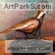Bronze Small bird sculpture by Michael J Mawdsley titled: 'Woodsman (Hoopoe Woodpecker Yaffle sculpture statue)'