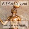 Bronze Playground Art Fantasy or Cartoon Statues sculpture by Michael J Mawdsley titled: 'Xolani Control (bronze African Footballer Balancing Football sculpture)'