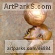 Bronze Footballers Football Players Soccer Players sculpture statuettes sculpture by sculptor Michael J Mawdsley titled: 'Xolani Control (Bronze African Footballer Balancing Football sculpture)' - Artwork View 3