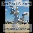 Aluminum Abstract Modern Contemporary Avant Garde sculpture statuettes figurines statuary both Indoor Or outside sculpture by sculptor Mike Hansel titled: 'Cause and Effect (Very Large Contemporary abstract statue)'