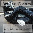 Mosaique,platre,resine epoxy Playground Art Fantasy or Cartoon Statues sculpture by Nad�ge Gesvres titled: 'Chat chic (Playful Recumbent Black Kitten/cat Mosaic statues/sculpture)'