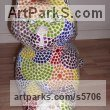 Platre Mosaic sculpture by Nad�ge Gesvres titled: 'Chat jouant avec une pelote (Lying playing Mosaic Cat sculptures)'