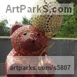 Platre Toys Sculpture / statue / statuette / figurine sculpture by sculptor Nadège Gesvres titled: 'petit Ours (Mosaic Teddy Bear and Ball Sitting Indoor sculptures/statue)'