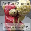 Platre Animals in General sculpture sculpture by sculptor Nad�ge Gesvres titled: 'Petit ours and son ballon (Mosaic Teddy Bear Light Hearted garden statue)'