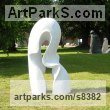 Carved Carrara marble Abstract Contemporary or Modern Large Public Art sculpture Statues statuary sculpture by Nando Alvarez titled: 'Wave (Carved Contemporary marble garden sculptures)'