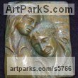 Bronze Love / Affection sculpture by Naomi Bunker titled: 'A Moment in Time (bronze Mother and Child Bas Relief)'
