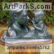 Bronze lost wax Parent - Child sculpture by sculptor Naomi Bunker titled: 'Mother and Child in the water (Bronze Heads sculptures)' - Artwork View 1