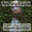 Bronze Birds of Prey / Raptors sculpture by sculptor Naomi Bunker titled: 'Tawny Owl (Bronze Raptor Perched Stump garden statue)'