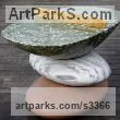 3 Kinds of Marble Abstract Modern Contemporary sculpture statuettes figurines statuary sculpture by sculptor Neal Barab titled: 'PING PONG CON 4 (abstract stone Stack sculpture/Carving Games Table)'
