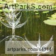 Glass and marine stainless Water Features, Fountains and Cascades sculpture by sculptor Neil Wilkin titled: 'Pond Flowers (Big Glass Flowers garden/Yard Water feature sculptures)'