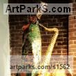 Papi�r Mach Wind Musical Instruments Musicians or Players and Composers sculpture statuette sculpture by sculptor Nicholas B. Daddazio titled: 'G.W., Jr' - Artwork View 1