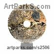 Soda Fired clay Round Disk, Dish, Flat Circular Ring Shaped Sculptures / sculpturette statuary sculpture by sculptor Nicholas Marsh titled: 'Soda Disc 1 (abstract Modern Circular ceramic Disk Interior statuettes)'