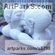 Portland [whitbed] limestone Carved Abstract Contemporary Modern sculpture carving sculpture by sculptor Nicholas Rowsell titled: 'Kissing Cousins [2136]'