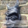 Terra Cotta Garden Or Yard / Outside and Outdoor sculpture by sculptor Nicholas Webster titled: 'Terracotta Devil Mask (Wall Hung Face Black statue)' - Artwork View 3