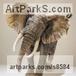 Ceramic African Animal and Wildlife sculpture by sculptor Nick Mackman titled: 'African Elephant (Raku fired ceramic Elephant statuette figurine)'