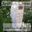Portland Stone Garden Or Yard / Outside and Outdoor sculpture by sculptor Nicola Axe titled: 'Ammonite Head (Carved Contemporary Buddha Bust/Head statues/art)' - Artwork View 1