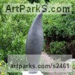 Cold Cast Graphite Abstract Contemporary or Modern Outdoor Outside Exterior Garden / Yard Sculptures Statues statuary sculpture by Nicola Beattie titled: 'Pod (Graphite resin abstract Flame Shaped garden sculptures statues)'