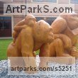 Cedar African Animal and Wildlife sculpture by sculptor Nigel Sardeson titled: 'Gorilla Family (Carved Wood School Custom statues)'