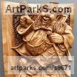 Male Men Youths Masculine Statues Sculptures statuettes figurines sculpture by NIKOLAY NIKOLOV titled: 'Clown, (Hand Carved Wood Relief Wall statuettes)'
