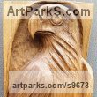 Carved Wood sculpture by NIKOLAY NIKOLOV titled: 'Falcon (Low Relief Bird of Prey Wooden Wall statue)'
