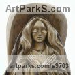 Walnut wood Saint sculpture sculpture by sculptor NIKOLAY NIKOLOV titled: 'Madonna (St Mary Carved in Wood sculpture)'