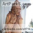 Beech wood Chainsaw sculpture by sculptor NIKOLAY NIKOLOV titled: 'Saint Ambrose (Big Carved Wood Religeous sculpture)'