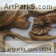 Walnut wood Carved Wood sculpture by NIKOLAY NIKOLOV titled: 'Tenderness (Contemporary Girl with Flower panels)'
