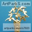 "Gold and bronze Birds in Flight, Birds Flying sculpture or statue by P�draic Reaney titled: ""Bird Man (Small abstract Contemporary man and Bird Flock statue sculpture)"""