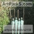Bronze Minimalist Understated Abstract Contemporary Sculpture statuary statuettes sculpture by sculptor Pádraic Reaney titled: 'Four Warriors (bronze with 4 Spears Modern statuette)'