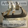 Bronze on stone Wedding Anniversary Gift or Present sculpture statuettes sculpture by sculptor Panufnik Biela titled: 'Relationship (Bronze Stylised abstract Sailing Ship of Life statue)'